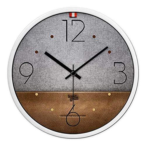 DNGDD Reloj de Pared para Interiores Versión en Cuero HD Mute Bicolor Simple Moderno Decorativo 14 Pulgadas Fuerte y no se daña fácilmente, A, 12 Pulgadas