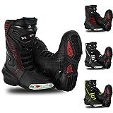 RXL Botas impermeables para motocicleta para hombre, antideslizantes, de piel, para carreras y deportes de turismo, color negro, 10 Reino Unido