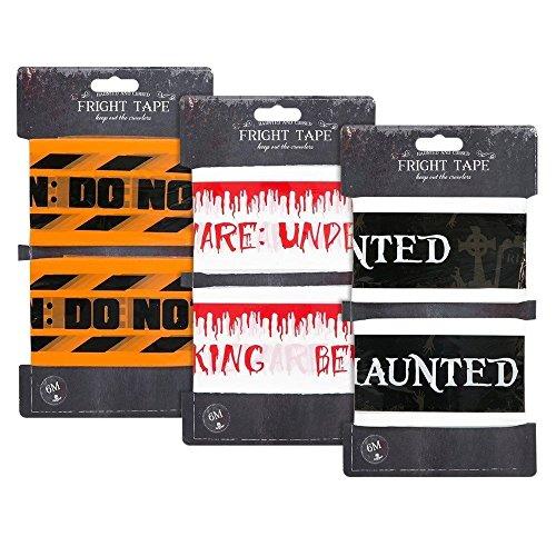 All For You Paquete de 2 cintas de advertencia de Halloween espeluznante de terror, guirnalda de guirnaldas, para decoración de puerta, hogar, oficina, fiesta, accesorios
