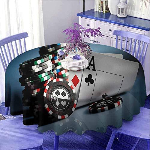 Decoraciones de torneo de póquer mantel redondo moderno juego de chips y par de cartas ases casino apuesta juegos peligro limpieza rápida diámetro 67 pulgadas multicolor