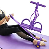 VKSG Multi-Function Tension Rope Band & Pedal Puller Resistance Band, 6-Tube Elastic Yoga Pedal Puller Resistance Band, for Abdomen/Waist/Arm/Leg Stretching Slimming Training (Purple)