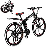 26 Inch Bikes Folding Bicycle Mountain Bike Dual Disc Brake, 21-Speed, Lightweight and Durable (Red)
