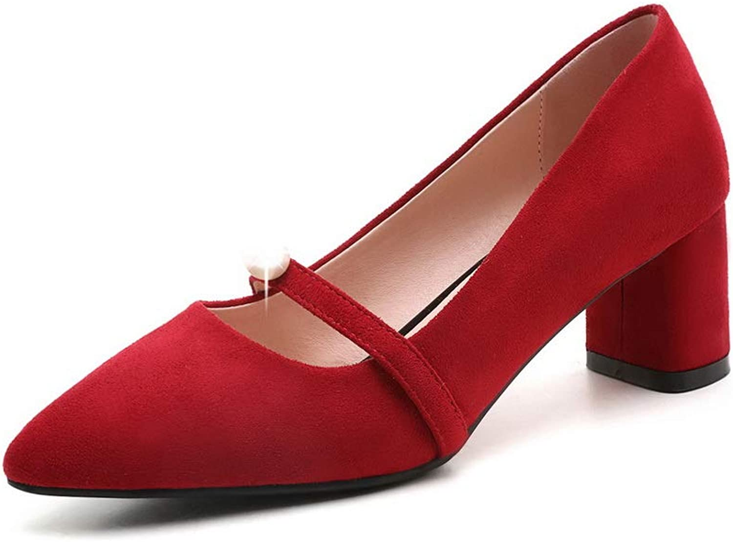 AN Womens Pointed-Toe Square Heels Imitated Suede Pumps shoes DGU00663
