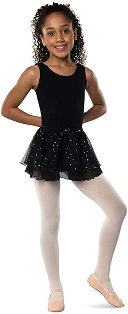 DanzNmotion Girls Double Layer with Hologram Dance Skirt