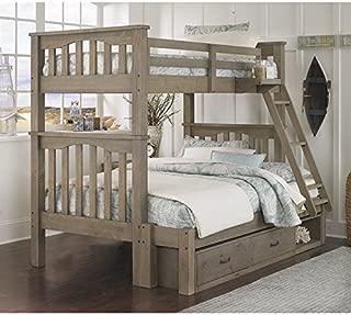 NE Kids Highlands Harper Twin Over Full Storage Bunk Bed in Driftwood