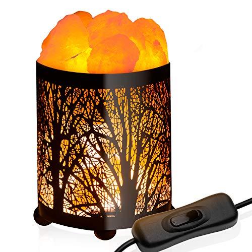 GloBrite Lámpara de sal natural del Himalaya, purificadora de aire, lámpara de noche con diseño de bosque de metal, interruptor