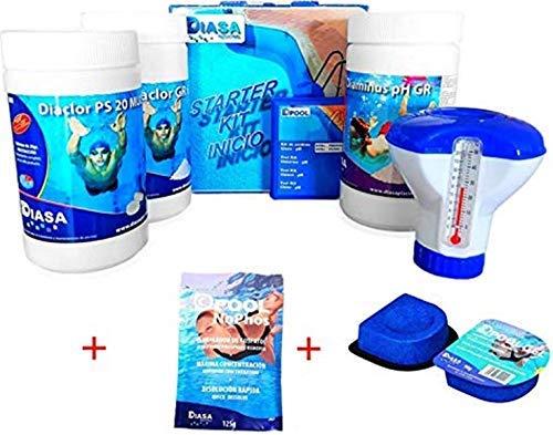 well2wellness Pool Starterset Wasserpflege 5-teilig Plus 1 x 125g NoPhos + 2 x 90g Flockmittel DPool Gel