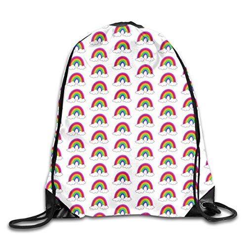 show best Bright Rainbow Drawstring Gym Bag for Women and Men Polyester Gym Sack String Backpack for Sport Workout, School, Travel, Books 14.17 X 16.9 inch