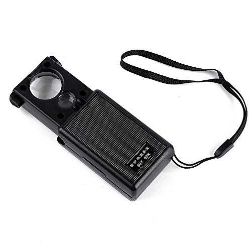 LED Lighted Slide Out Illuminated Portable 30X 60X Jewelers Loupe Magnifier - with LED & UV Lights Magnifying Eye Loop Stand - Best for Jewelry Identifying Type, Diamonds, Coins