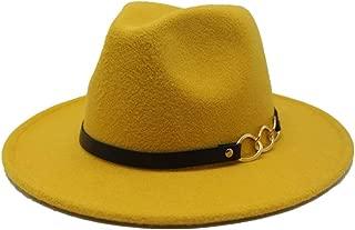 SGJFZD New Men's Women's Wool Fedora Hat with Leather Belt Autumn Wide Brim Jazz Hat Pop Hat Church Casual Fascinator Hat Size 56-58CM (Color : Yellow, Size : 56-58)