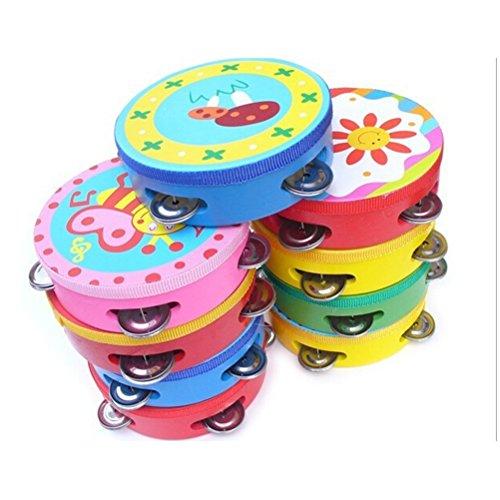 WINOMO 10CM bébé enfant Kid Clap Handbell tambour tambourin hochets jouet Instrument de musique exercice bras - Couleur aléatoire