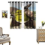 DRAGON VINES Living Room Grommet Insulation Curtain Bedroom Blackout Curtains Movie Shrek 2 Fairy Tales Wedding Party Decorations Set of 2 Panels W55 x L72