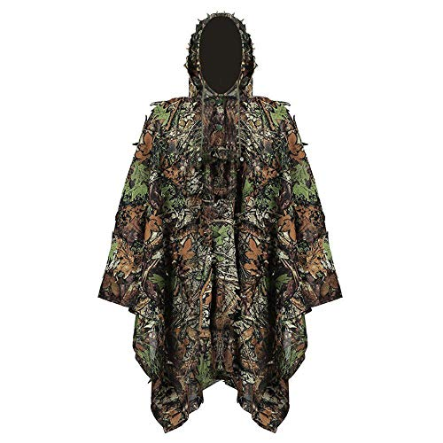 GYFHMY Camouflage Cloak, Outdoor 3d Leaf Hidden Poncho Bird Watching Cloak, Lightweight Breathable Hunting Suit Suit, for Outdoor Game Wildlife Photography