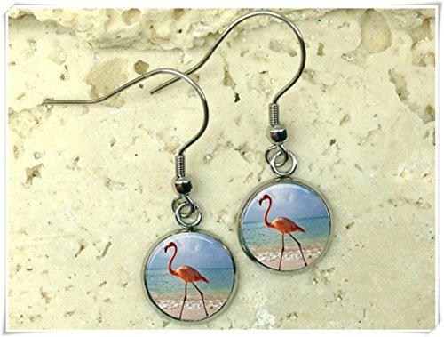 Elf House - Pendientes de flamenco de cristal, pendientes de flamenco, pendientes de florida, pendientes de playa