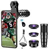 Apexel Phone Lens Kits, 4 IN 1 Camera Lens Kits-22x Telephoto Lens/205°Fisheye Lens/120°Wide Angle Lens&20x Macro Lens/Tripod and Remote Shutter for iPhone Samsung,Huawei,Xiaomi and most smartphone