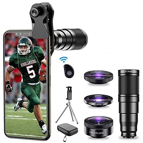 Kit Obiettivo Telefono APEXEL-22x Teleobiettivo/Obiettivo 205°Fisheye/Obiettivo grandangolare 120°/ Obiettivo Macro 20x/ Treppiede e otturatore remoto per iPhone Samsung, Huawei e Molti Altri