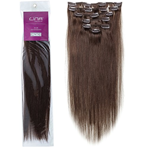 "Lina 15"" 7Pcs Women Human Hair Clip In Silky Soft Straight Extensions #4 Medium Brown"