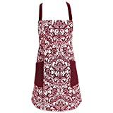 DII Cotton Adjusatble Women Kitchen Apron with Pockets and Extra Long Ties, 37.5 x 29', Cute Apron for Cooking, Baking, Gardening, Crafting, BBQ-Damask Wine