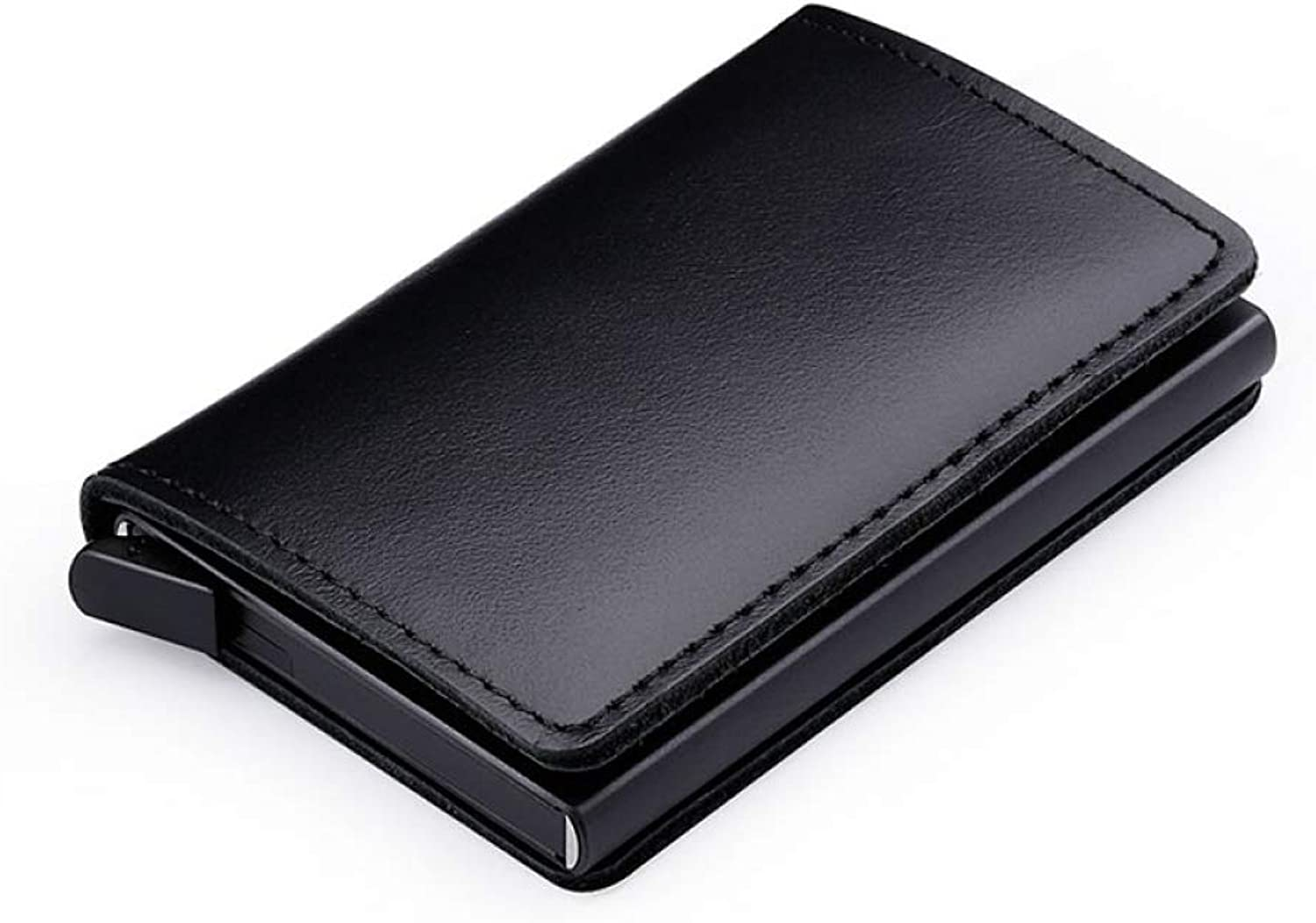 ZGSDYST RFID Blocking 100% Genuine Leather Credit Card Holder Aluminum Metal Business ID Cardholder Slim Card Case Mini Wallet