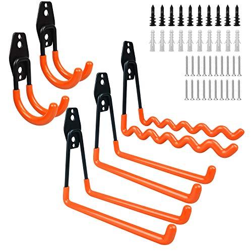 Ganchos para garaje,paquete de 5 ganchos de acero para almacenamiento de garaje de alta resistencia con tornillos,para organizar herramientas eléctricas,escaleras,artículos a granel,tuberías