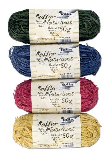 Folia 901014 - Raffia-Naturbast 4 Stück, je 1 x gelb, rot, grün, blau