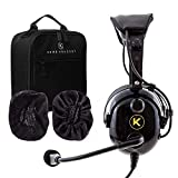 KORE AVIATION KA-1 Premium Gel Ear Seal PNR Pilot Aviation Headset with MP3 Support, Carrying Case, Cloth Ear Covers Included