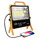 Portable Rechargeable LED Work Light,PowerBank 11000mah,Solar Light,100W 202 Hight Brightness Leds, Five Lighting Modes,for Outdoor Camping Light,Outdoor Light,Emergency Lights for Home Power Failure.