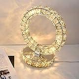 Goeco Moderne Kristall Tischlampe, LED Nachttischlampe, 30W runde Tischlampe, warmweißes Licht