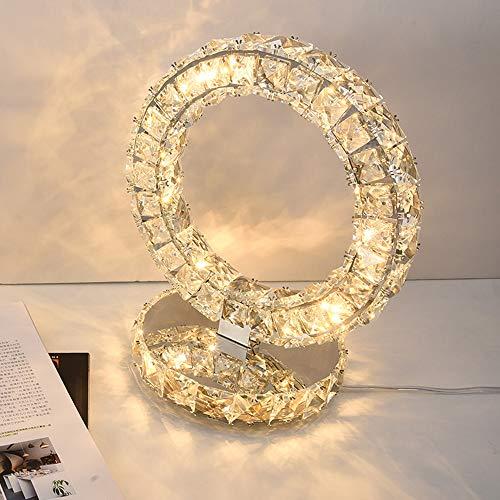 Goeco Moderna Lampada da Tavolo in Cristallo K9, Lampada da Comodino a LED, Lampada Decorativa Bianca Calda da Camera da Letto