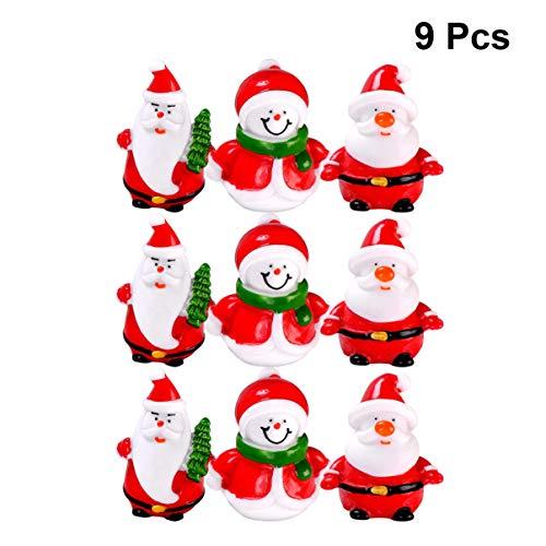 DOITOOL 9 Piezas Mini Kits de Adornos en Miniatura de Navidad de muñeco de Nieve de Santa para DIY decoración de casa de muñecas de jardín de Hadas Resina de Navidad (patrón Aleatorio)