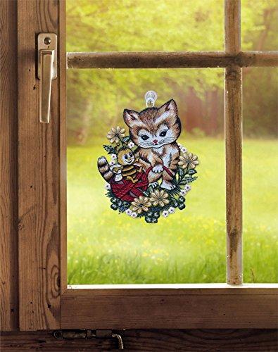 Fensterbild Kätzchen mit Biene 20 x 25 cm (BxH) echte Plauener Spitze inkl. Saughaken