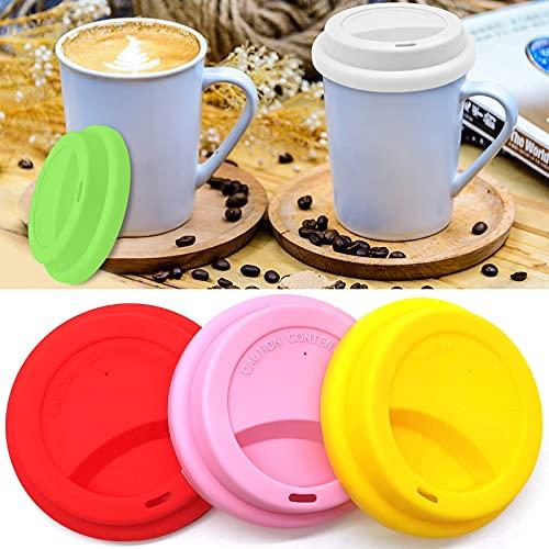 Cisolen 6 piezas Tapa de Silicona para Taza de Café, Tapa de Silicona para Bebida con Agujero Reutilizables a Prueba de Polvo,Colores Variados