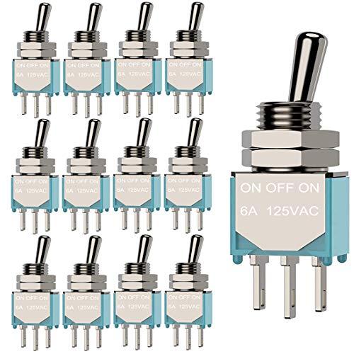 Gebildet 12 Piezas MTS-103 Mini Interruptor de Palanca 125VAC 6A, 3 Pines 3 Posiciones ON/Off/ON SPDT, Micro Interruptor Basculante de Enclavamiento