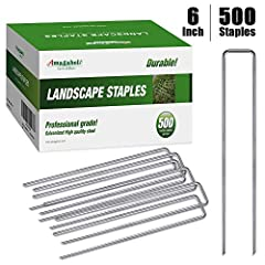 PRO GRADE 6 INCH LENGTH HEAVY DUTY: Single garden stake with dimension of 6 inch in length and 1 inch in width. Professional grade 500 pack heavy-duty galvanized steel landscape staples meticulously crafted to enhance all your home projects. Longer a...