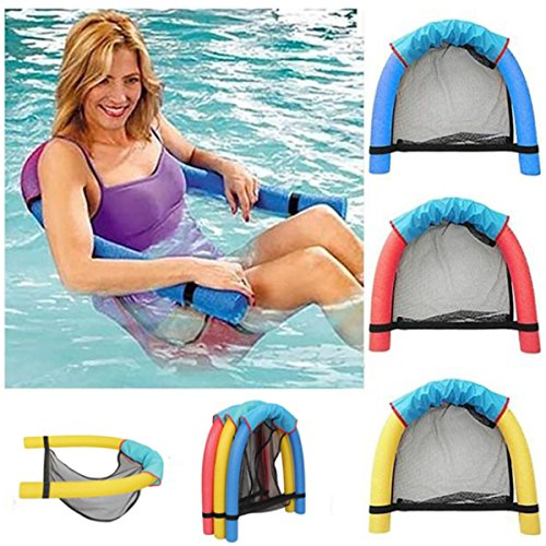 Non-inflatable Pool Chair for Swimming Pool Floating Noodle Chair Pool Seats Mesh U-Seat Hammock Non-inflatable Rafts Swimming Pool for Kids Adults (Less than 150 LBS Adult)