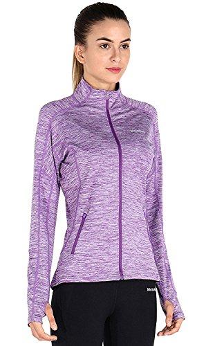 MotoRun Stretchy Women's Running Sports Jackets Full Zip Activewear Coat with Thumb Holes, Purple, Medium