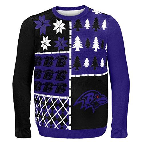 Klew NFL Pullover Busy Block, Herren, SWTNFUGYBBLKBRVXXL, Baltimore Ravens, XXL