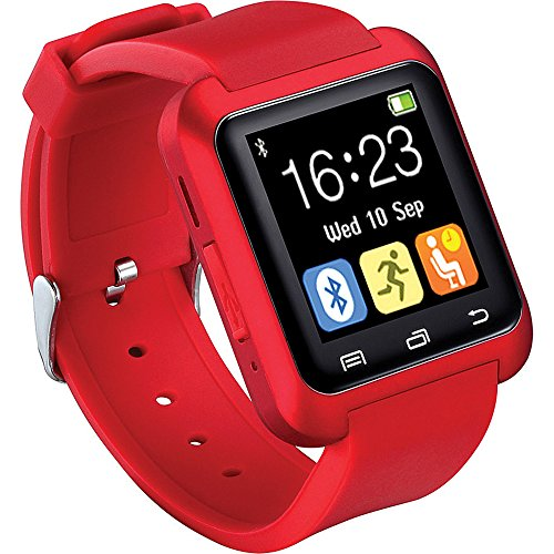 iTontek U80 Bluetooth 4.0 Smartwatch Sportswatch Pedometer for Smartphones iOS Apple iPhone Android Samsung,HTC Sony (Red) [Upgraded Version of U8]