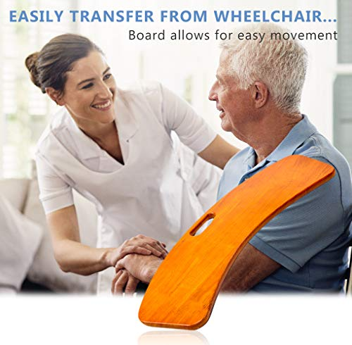 Wooden Slide Transfer Board, Patient Slide Assist Device for Transferring Patient from Wheelchair to Bed, Bathtub, Toilet, Car - 500 lb Bariatric Heavy Duty Wooden Sliding Transport Platform