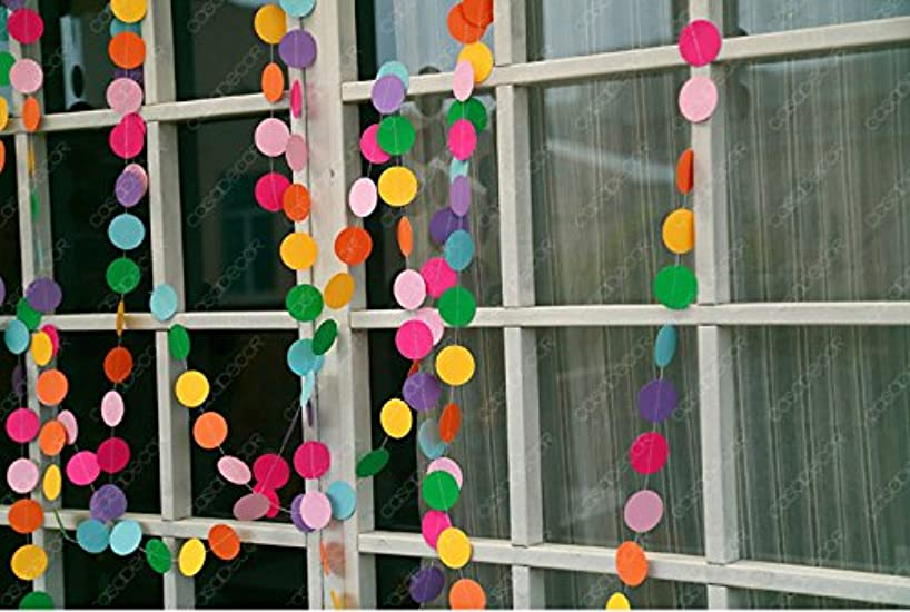KINGWEDDING 157 inches Long Round Dots Hanging Decoration String Paper Garland Wedding Birthday Party Baby Shower Background Decorative,2pcs (Colorful)