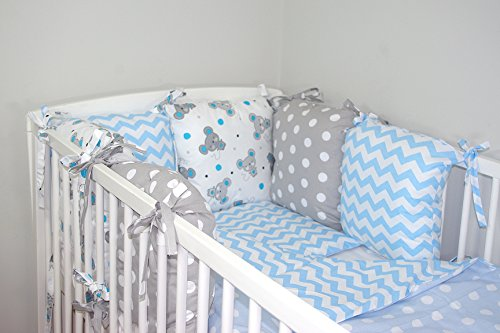 Baby's Comfort Parure de lit bébé ENSEMBLE DE 8 PIÈCES avec Tour de lit 6 coussins (24 couleurs) (23a)