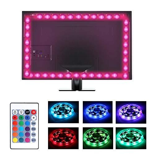 RGB retroiluminación LED luces USB, 4 tiras TV iluminación de fondo con control remoto 5V