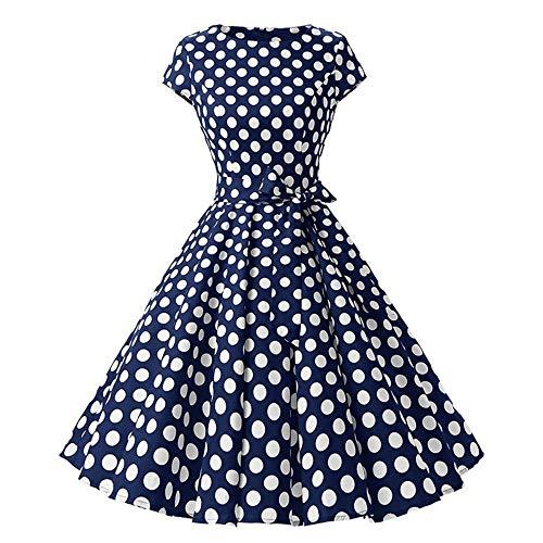 WDJYNL Kleid Damen Robe Swing Kleid Retro Pin Up Vintage 1950er Rockabilly Dot Sommer Damen Kleider Elegant Tunika XL siehe Abbildung