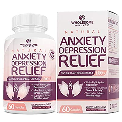 Happy Pills Natural Anti Anxiety Relief & Depression Supplement | Dopamine Mood Boost, Serotonin Support, Relieve Stress, Calm Relaxation Enhancer, Best PMS Supplements, for Women & Men | 60 Capsules
