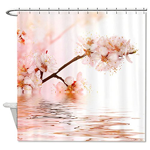 warrantyll Rosa Blumen Cherry Blossom Bath Wasser Polyester Wasserdicht Duschvorhang 182,9x 182,9cm