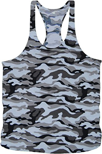 Bodybuilding Army Camouflage Stringer Tanktop Fitness Muskel Muscle Shirt Vest in 4 Farben (L, Snow Army)