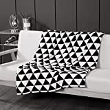 WINLIFE Simple Black and White Blanket Throw Cotton Skin-Friendly Knitted Blankets 35''x43''