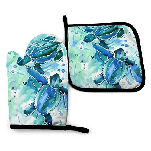 Guantes de Cocina y Juego de Mantel Individual Tortugas marinas azul turquesa en el océanocon Silicona Antideslizantes para Cocinar, Asar(Juego de 2 piezas)