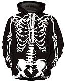 Ocean Plus Uomo Felpa con Cappuccio 3D Cranio Hoodie Maglione Lupo Colorato Felpa Teschio Sweatshirt (S/M (Torace: 112-132CM), Scheletro)