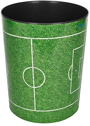 Läufer 26665 Papierkorb Fußballfeld, 13 Liter Mülleimer, perfekt für das Kinderzimmer, rund, stabiler Kunststoff, verschiedene Motive